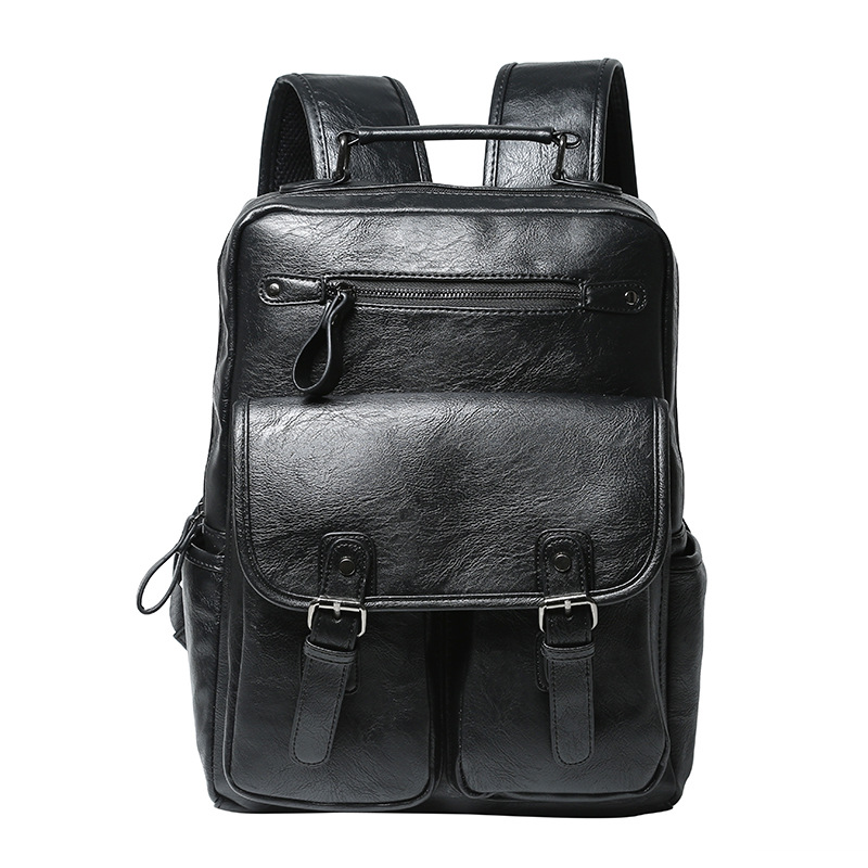 ETONWEAG Brands PU Leather Schoolbag Backpack Men Black Fashion School Bags For Teenagers Vintage Laptop Bag Big Travel Luggage male bag vintage cow leather school bags for teenagers travel laptop bag casual shoulder bags men backpacksreal leather backpack