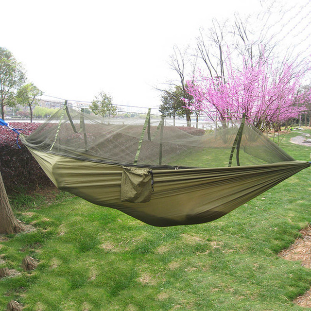 3 Colors High Strength Garden Outdoor Camping Parachute Portable Hammock Hanging Bed With Small Mesh Of Mosquito Net 280x150cm