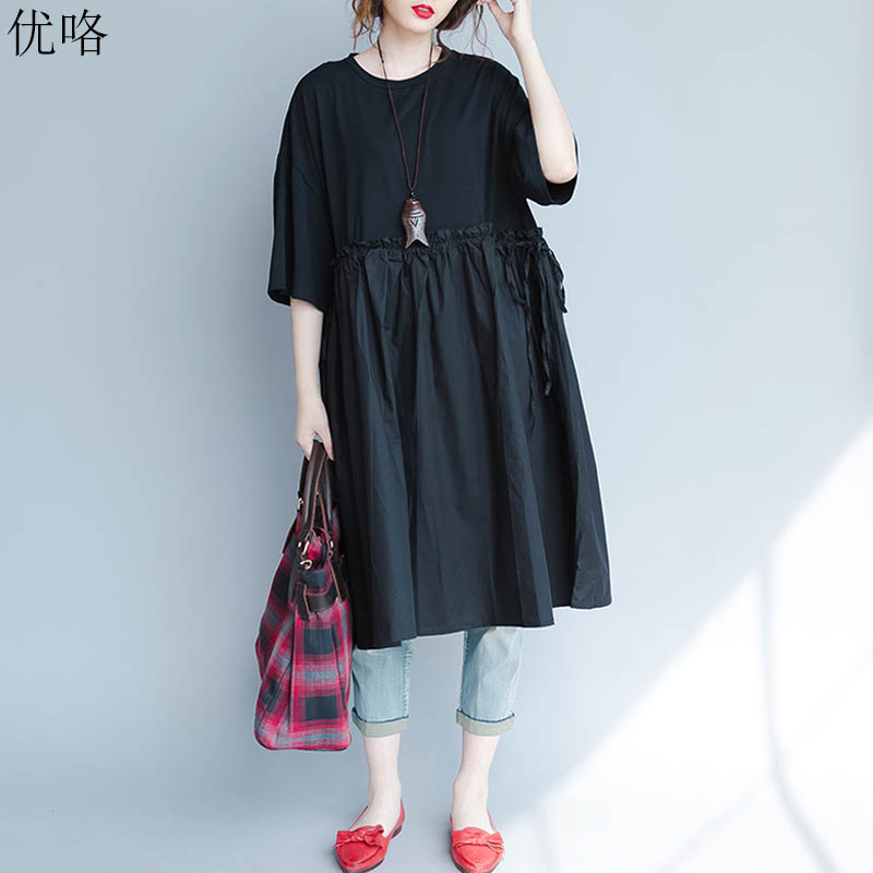 Plus Size 4XL 5XL <font><b>6XL</b></font> <font><b>7XL</b></font> 8XL <font><b>9XL</b></font> Summer Shirt Dress Women Cotton Big Size Pleated Dress Casual Loose Long Dresses Female 2019 image