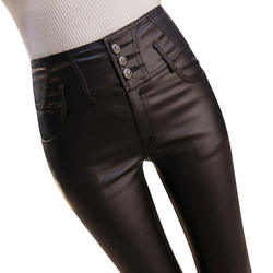 Plus Velvet Leather Pants Women Autumn Winter High Waist Leggings Women Plus Size 3XL Stretch Skinny Leggins Long Trousers C5020