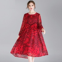 Chiffion Dresses Plus Size Red Spring Women 2019 Long Sleeve Black Mesh Fashion Loose Party Elegant Summer Dress Female 4XL