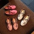2017 moda de primavera y otoño niño femenino zapatos de cuero impermeables botas de flores niña de la escuela zapatos niño mocasines princesa girl sho