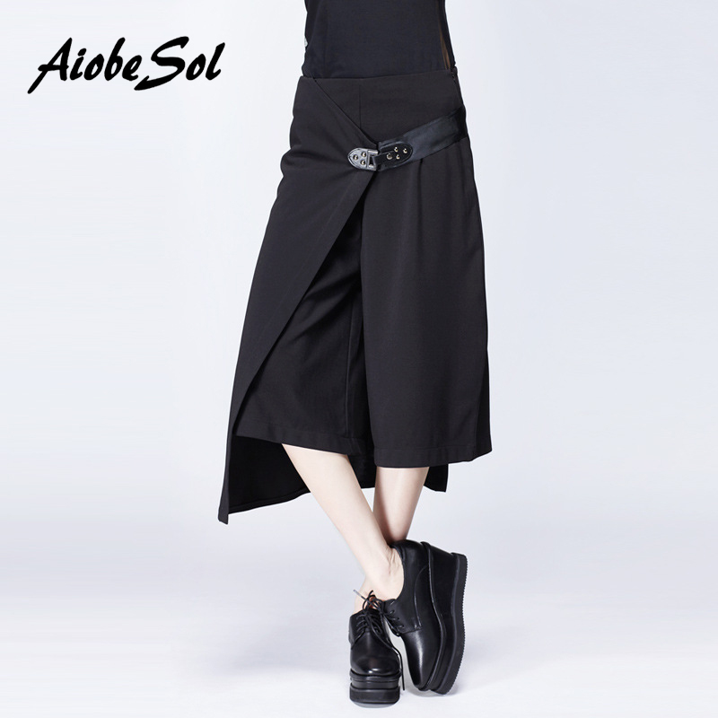2016 Summer Women Solid   Wide     Leg     Pants   Female Fashion Personality Asymmetric High Waist Calf-length   Pants   With Belt
