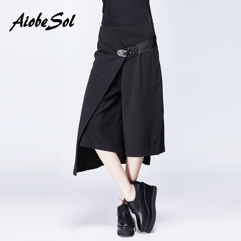 2016 Summer Women Solid   Wide     Leg     Pants   Female Fashion Personality Asymmetric High Waist Calf-length   Pants   With Belt