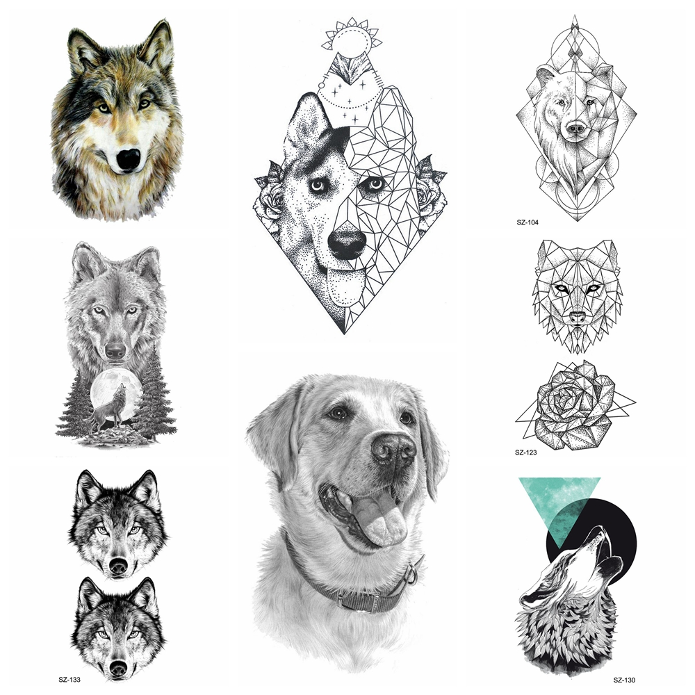 25 Pattern Tattoo Temporary Stickers Women Body Art Painting Waterproof Tatoos 3D Geometry Labrador Dog Fake Tatoo Supplies