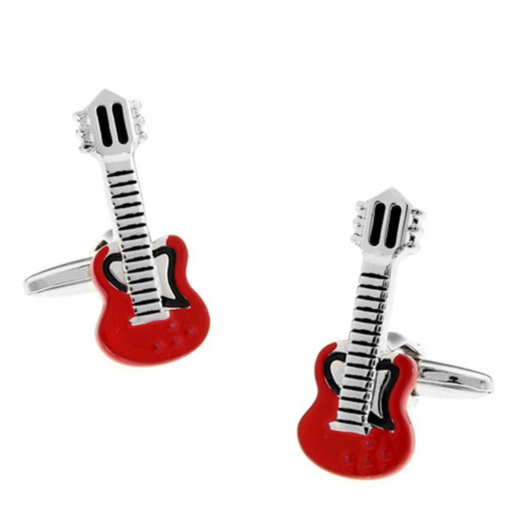 Способ Дэн-модные красные гитары дизайнерские запонки Для женщин Для мужчин Свадебная вечеринка рубашка-Смокинг Запонки бижутерия подарок-YC022