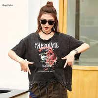 Vintage Hole Tops Devil Print Harajuku Tops Tee Punk Women Hip Hop Tshirt Female Pullover Punk Tee Shirt plus size LT030S50