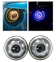 1 Pair 7 Round Star Daymaker Headlights Headlamp With Demon Eye Angle Eyes Halo White DRL