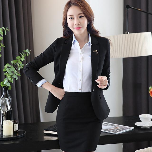 Os novos outono e inverno das mulheres high-end ternos entrevista gerente de negócios pacote do361 uniformes de lã profissional