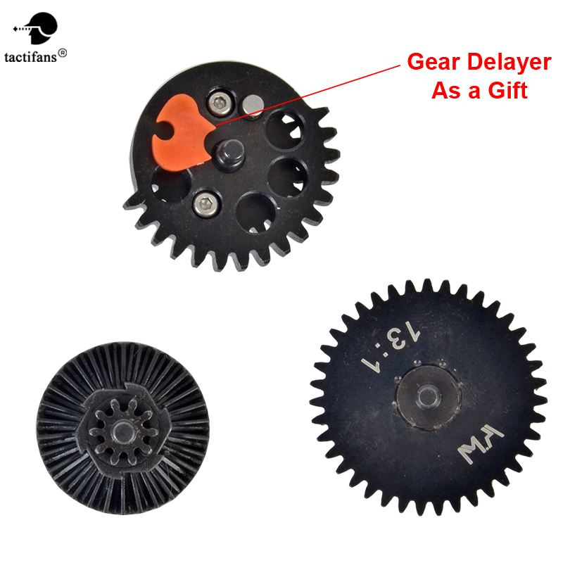 TACTIFANS 13:1 16:1 18:1 Airsoft AEG/eBB High Speed Gears Set For M4 AK Gearbox CNC Machined Steel Ver.2/3 Gears + Gear Delayer m4 ver 2 aeg airsoft accessories high speed gear piston head spring guide nozzle cylinder 13 1 16 1 18 1 200 100 300 100 cnc