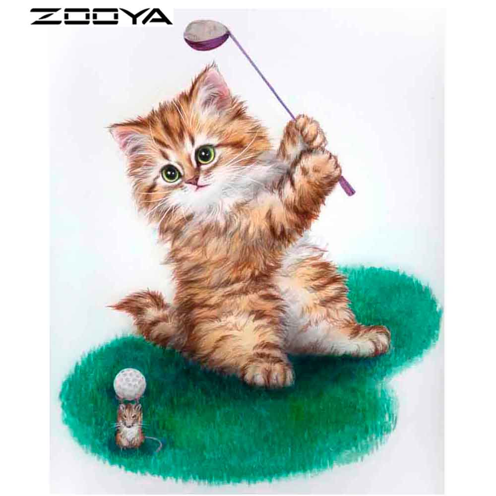 ZOOYA 3D DIY Full Diamond Embroidery Painting Mosaic Pattern Kids Party Gifts Cat Playing Golf Mouse Lift Golf Home Decor AT1489