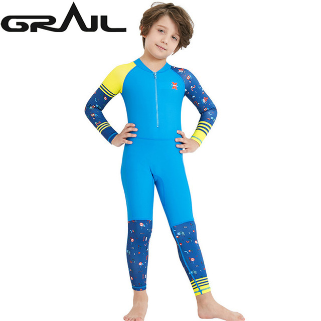 eecf9be44967a Kids Diving Swimming Suit Swimwear Full Body Jump Suit Dive Wet Suits Rash  Guards Boy Girl Surf Swim Suit Water Sports LS-18822