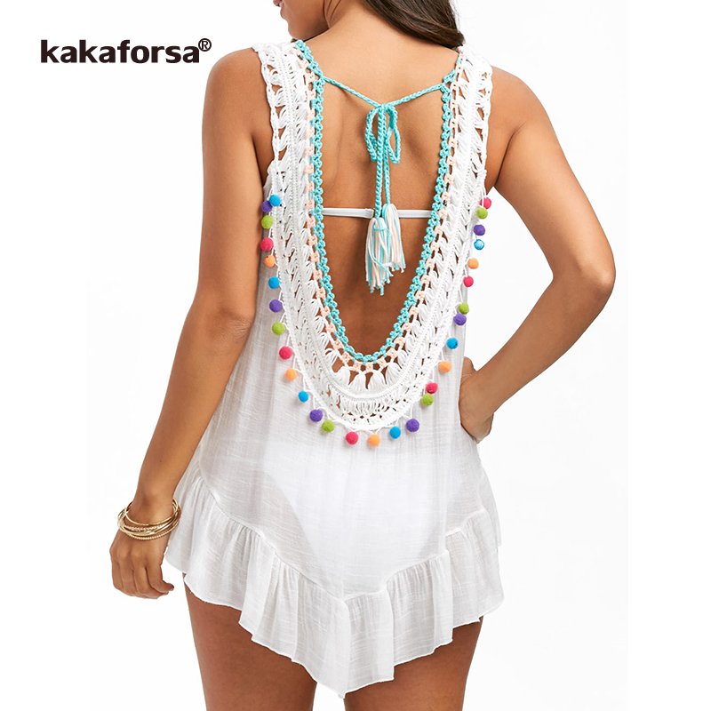 Kakaforsa 2018 Sexy Crochet Beach Cover Up Cotton Beach Dress Perspective Backless Robe De Plage Sleeveless Bikini Cover Ups цена 2017