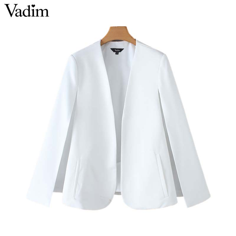 Image 3 - Vadim women elegant black white V neck coat pockets office wear solid outerwear female casual chic open stitch tops CA347Jackets   -