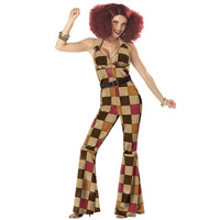 Ladies Womens 60s 70s Retro Hippie Go Go Girl Disco Fancy Jumpsuit Boogie Babe Hen Party