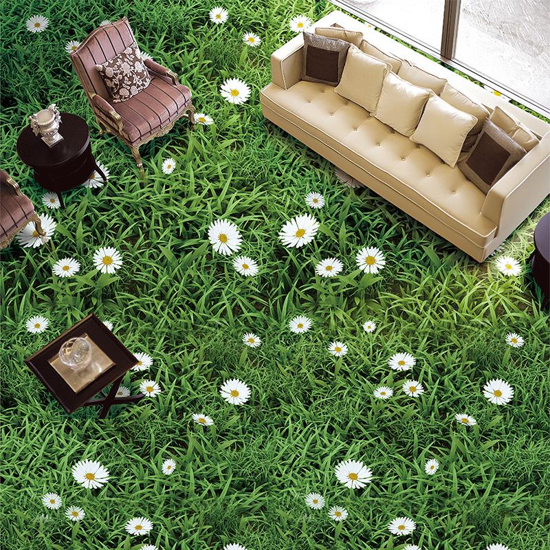 Custom Self-adhesive Floor Mural Pastoral Plant Flowers Green Grass 3D Floor Tiles Wallpaper Sticker Bathroom Living Room Decor