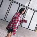 2017 de la vendimia de verificación de la moda patchwork quoined recorte cuello de la camisa de POLO de manga larga de un solo pecho femenino