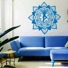 Hot Sale  Mandala Flower Yoga OM Wall Sticker  Indian Buddha Ornament  Home Decor Murals Art  Bedroom Vinyl Sticker W-33 стоимость