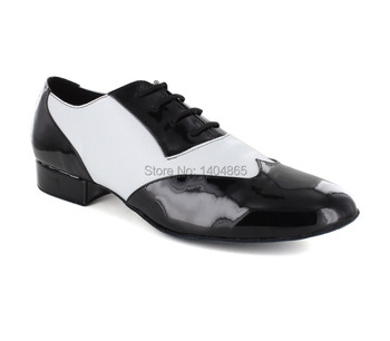 NEW Top Quality Patent Real Black and white Cow Leather ballroom Modern Latin mens dance shoes 25cm and 40cm heel ,FREE SHIPPING