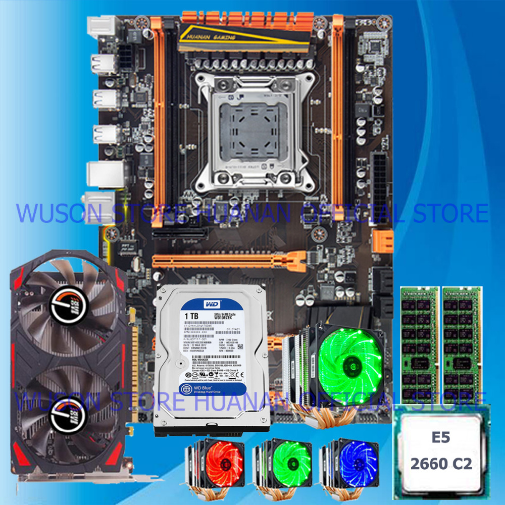 HUANAN deluxe X79 motherboard+processor+memory+video card+CPU cooler+1TB HDD computer DIY contact WUSON store for more options