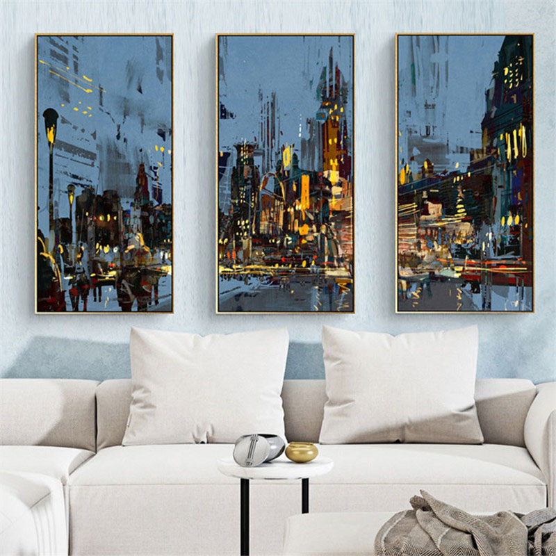 HAOCHU Nordic Abstract City Landscape Night Scene Home Decor Mural Oil Painting Large Picture Wall Combination Poster Canvas Art