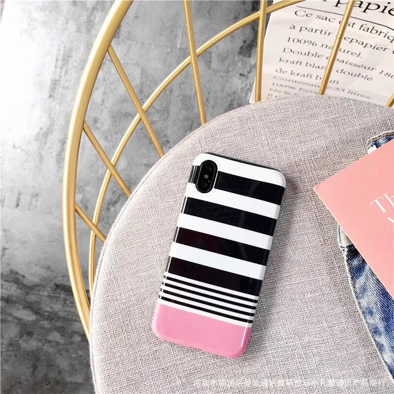 Cuptakes Luxury Glossy Jelly Soft Silicone Phone Case for Apple iPhone 7 6 6S 7 8 Plus X Cover Cute Pink Stripes Fundas Black