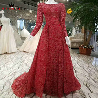 QUEEN BRIDAL Evening Dresses Long Sleeve Extra Skirt Wine Red Lace Beading Sexy Luxury Formal Party Dress Vestido De Festa BY55
