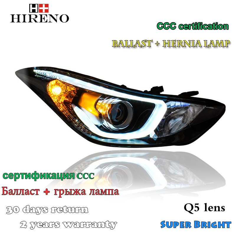 Hireno Headlamp for 2012-2015 Hyundai Elantra Avante Headlight Assembly LED DRL Angel Lens Double Beam HID Xenon 2pcs 2pcs purple blue red green led demon eyes for bixenon projector lens hella5 q5 2 5inch and 3 0inch headlight angel devil demon