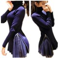 Sweater female chiffon patchwork  turtleneck long-sleeve medium-long slim knitted sweatershirt