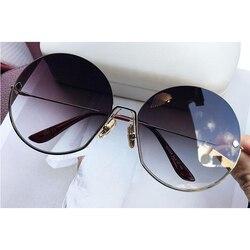Luxury Brand Vintage Round Sunglasses Women 2020 New Fashion Half Frame Tinted Lens Oversized Sun Glasses Female Lady Big Shades