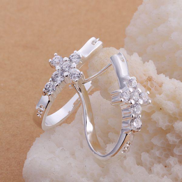 Joyería de plata esterlina pendientes, 925 joyería de plata, cruz en forma de u