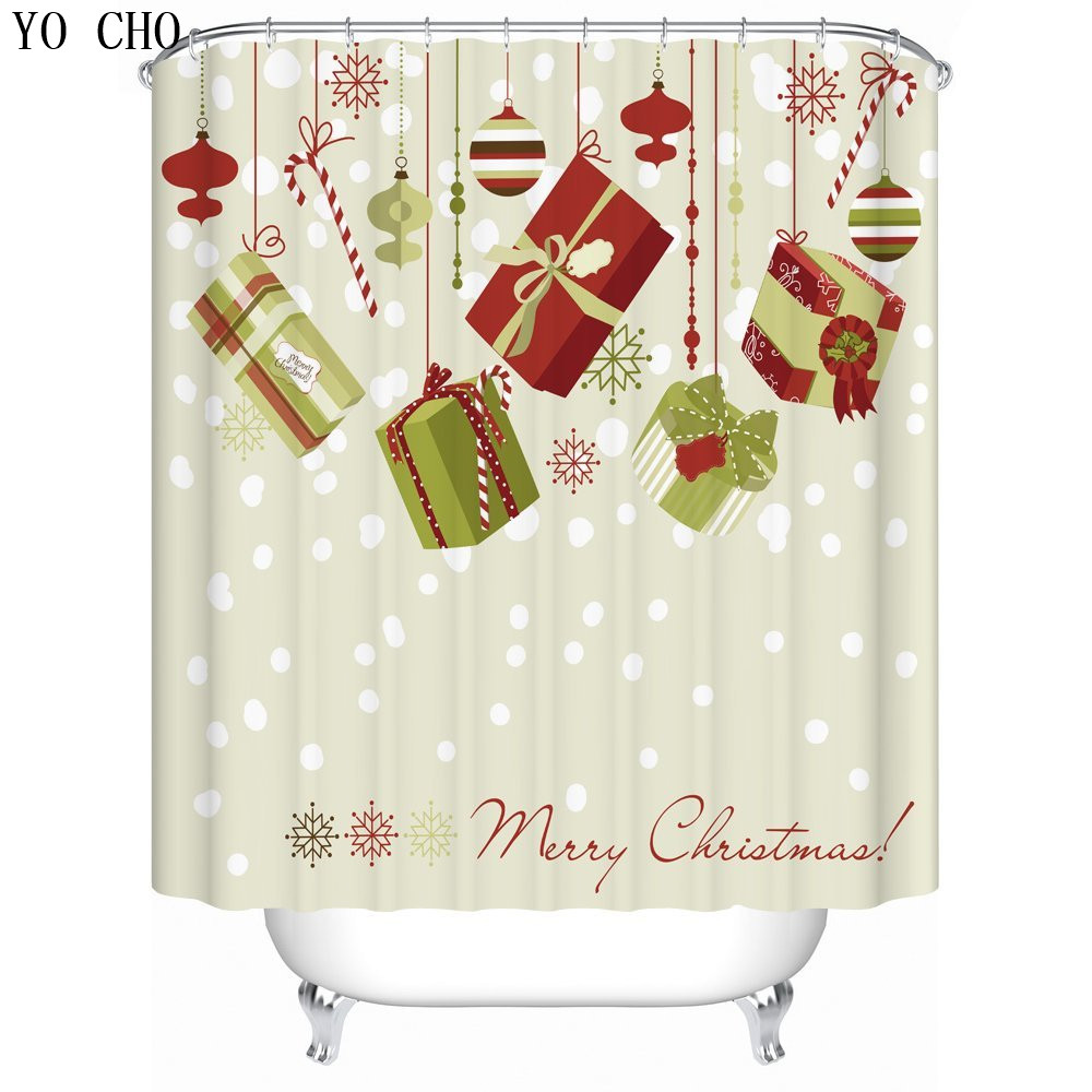 2016 New Hot Rideau douche noel 3D Christmas shower curtain Christmas gifts Styple funny Curtains for bath room Free shipping