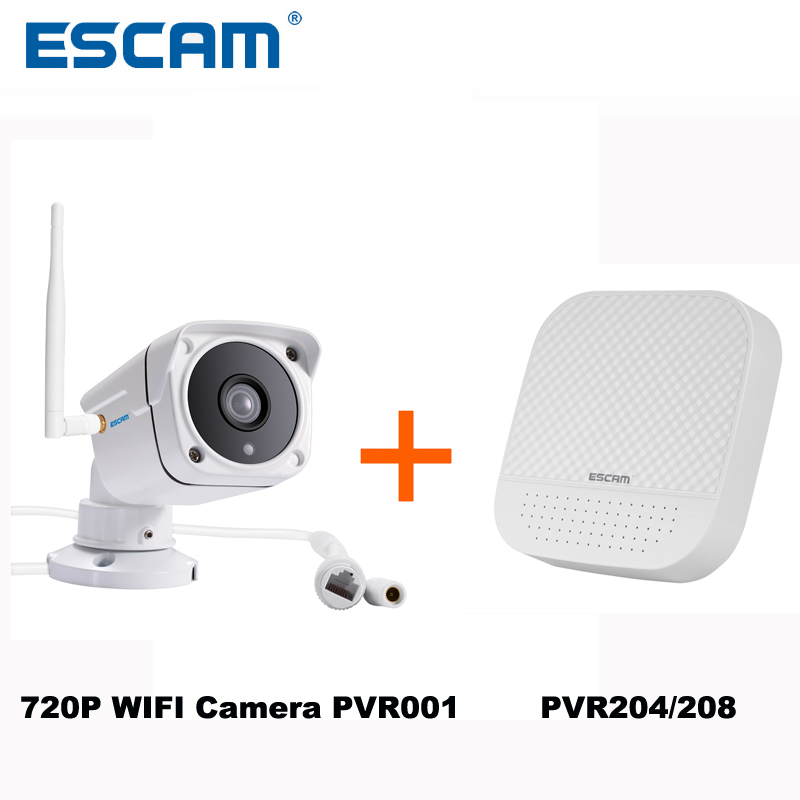 ESCAM 720P WIFI IR Bullet Camera PVR001+ PVR204/PVR208 PVR Kits ONVIF Private Cloud Waterproof Security IP Camera System