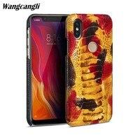 Страусиной кожи ног чехол для телефона для xiaomi 8 из натуральной кожи мобильного телефона чехол половина обновления защитный чехол сзади отп