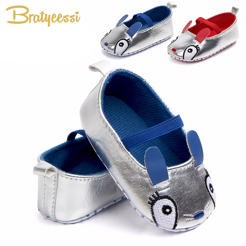 Rabbit Baby Girl Shoes Shallow Silver Sparkle Princess Baby Shoes First Walkers Cartoon Slip On Kids Shoes for Toddler Schoenen