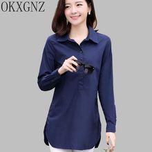 OKXGNZ Han Edition XL5 Shirt Women 2017 New Fashion Springtime Loose Women Shirt POLO collar Solid color Shirt Plus size A119