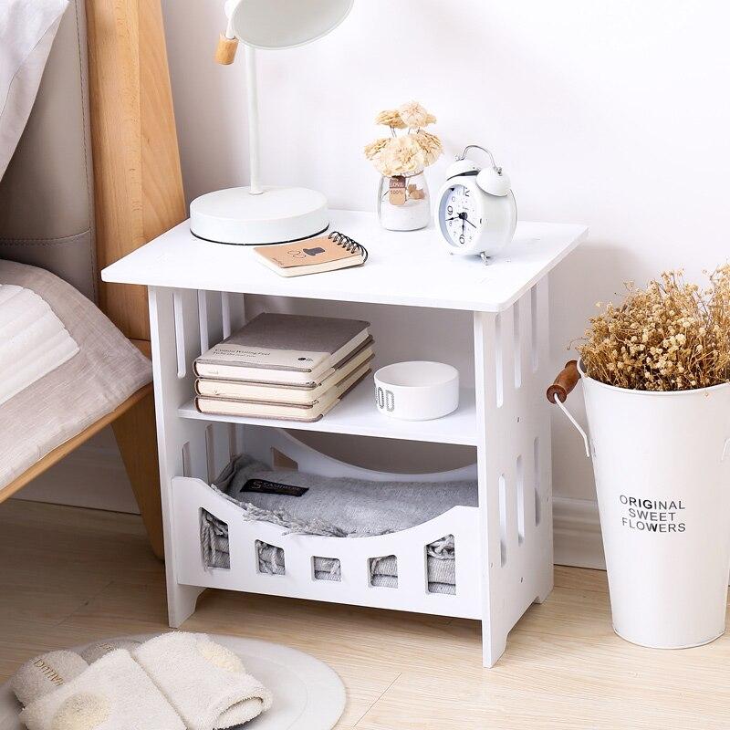 Simple blanc chevet petite table en plastique thé table basse pour chambre bureau magazine étagère de rangement décor à la maison armoire mx3111150