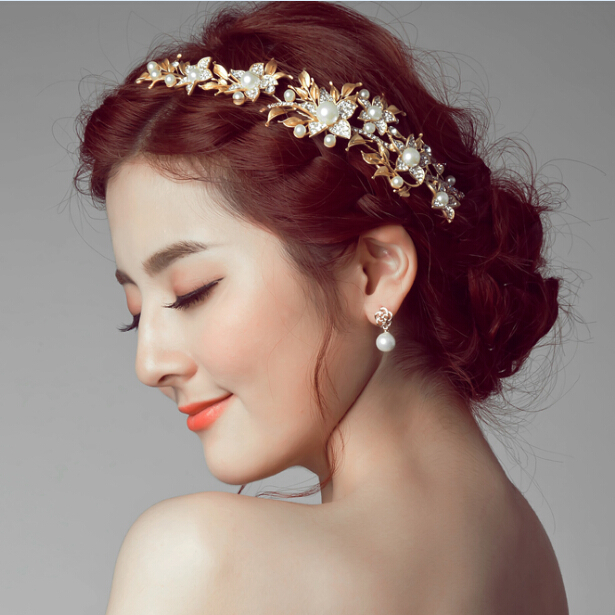 Gold Leaf Bridal Headdress Baroque Pearl Jewelry Rhinestone Tiara Wedding Accessories Vintage Hair