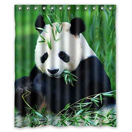 Custom Bath Curtains Panda Bamboo 160x180cm Fabric Bathroom Accessories Shower Curtain With HooksChina