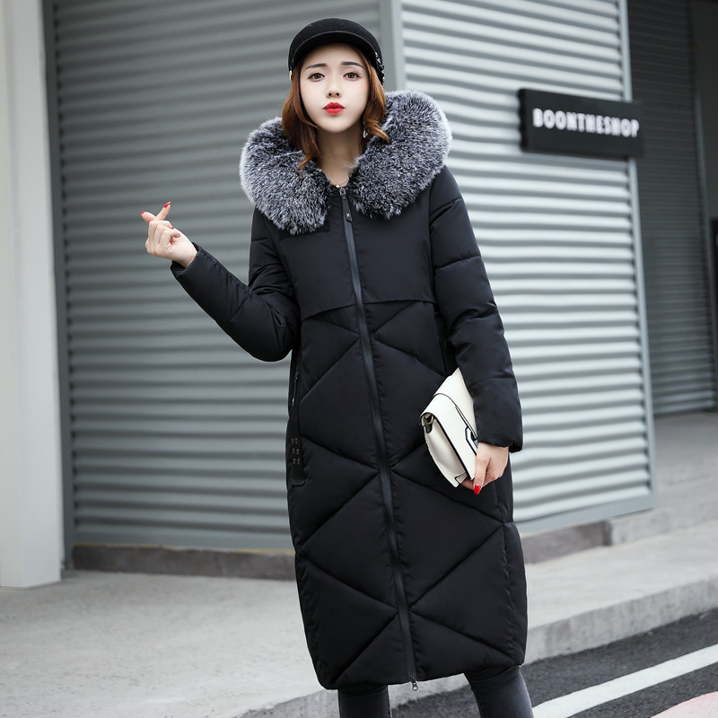 New Fashion Winter Coat Solid Color Cotton Fur Collar Long Jacket Hooded Padded Warm Women Clothing Casual Style Wadded Parkas hooded collar korean new 2014 winter clothing full sleeve solid down jacket slim women casual cotton padded coat ly1066