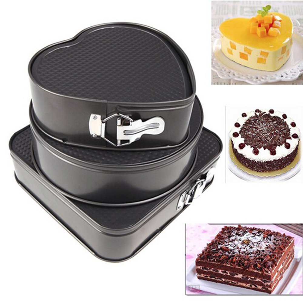 Set of Three Springform Pans Chocolate Cake Bake Mould Mold Bakeware Round Heart Square Shape Kitchen Accessories Baking Tools