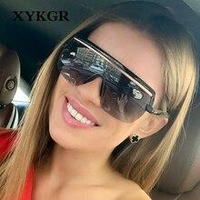 XYKGR fashion new big frame sunglasses mens trend square ladies brand designer wine red leopard glasses UV400