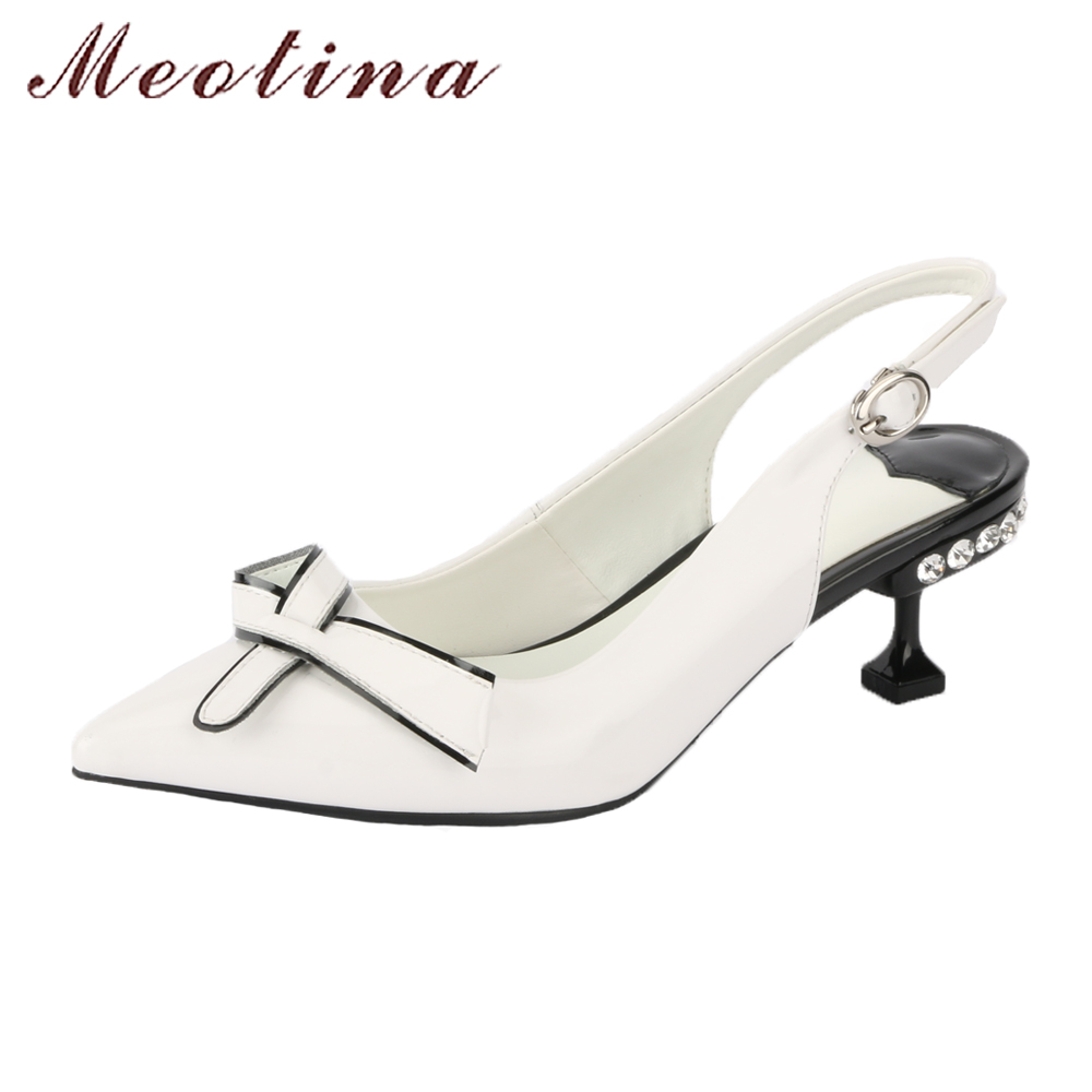 Meotina Genuine Leather Shoes Women Slingbacks Pumps Crystal Hoof High Heels Party Shoes 2018 Bow-knot Pointed Toe Shoes White foreada women shoes pumps genuine leather thin high heels elegant ladies office shoes 2018 bow knot pointed toe shoes female