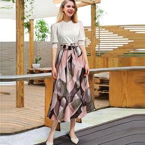 Image 4 - 2020 Streetwear Frauen Sommer Rock Elastische Hohe Taille Jupe Femme 4XL 5XL Plus Größe Röcke Midi Rosa Schwarz Bogen Druck floral Rock