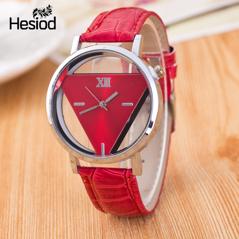 Hesiod New Design Fashion Ladies Watches Elegant Hollow Triangle Watch Fashion Women Thin Leather Strap Quartz Watch