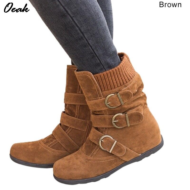Oeak Women's Boots Flat Bottom Large Size Short Thick Cotton Boots Flat Bottom Brand Boots Women