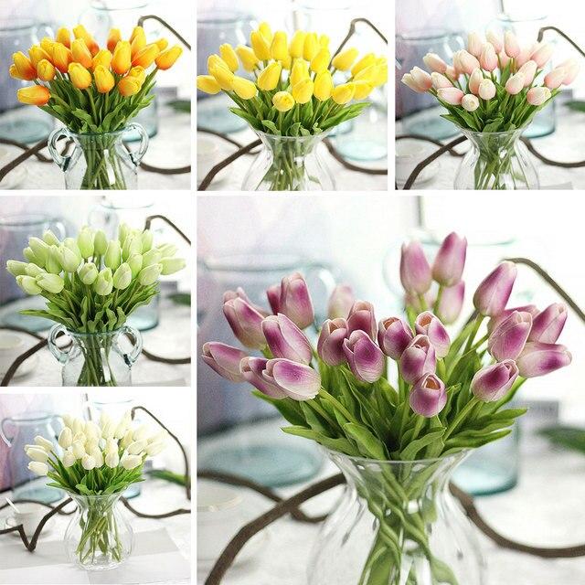 Białe Tulipany 12 Kolory Sztuczne Tulipany Sztuczne Kwiaty Na Wiosnę