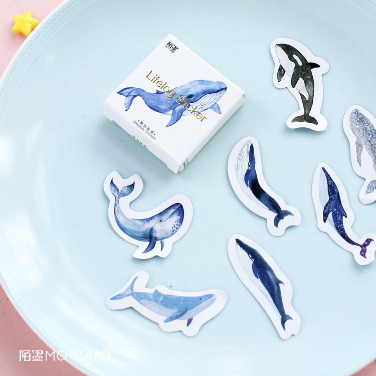 45 PCS/pack Animal Blue Whale Fish Mini Paper Sticker Diary Decoration DIY Scrapbooking Label Seal Sticker Stationery