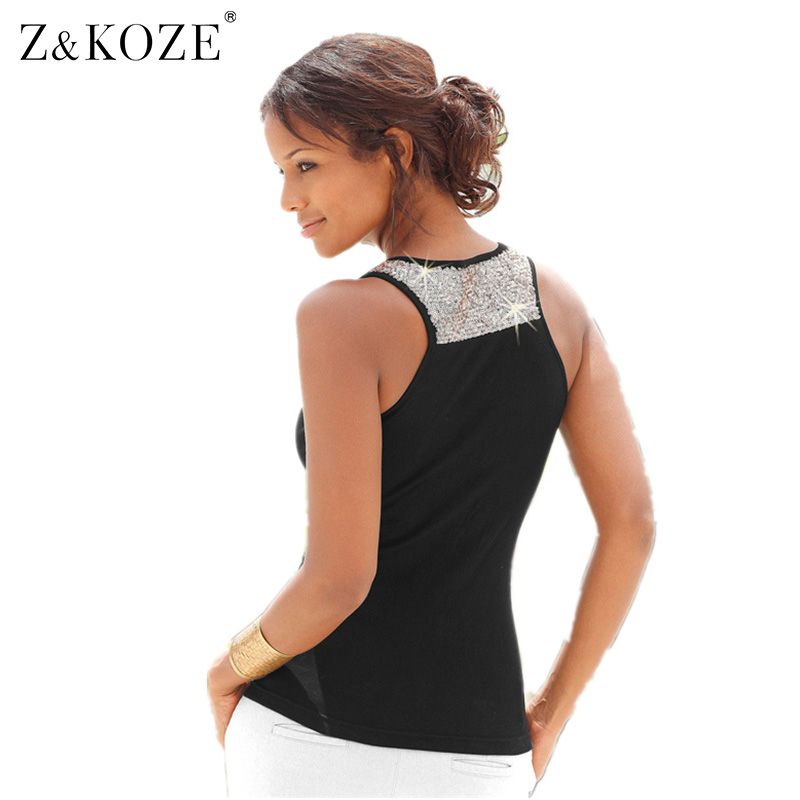 Z&KOZE 2016 New Women Beading Shining Vest Cute Racerback Sexy Scoop Neckline Tank Tops Loose Plus Size 3XL for Ladies