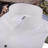Men S Fashioon Tuxedo Shirt French Cufflinks Banquet Long Sleeve Shirt Classic Stand Collar 100 Cotton